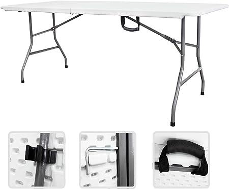 Todeco Table Pliante Transportable Table En Plastique Robuste Matériau Hdpe Charge Maximale 100 Kg 180 X 76 Cm Blanc Pliable En Deux