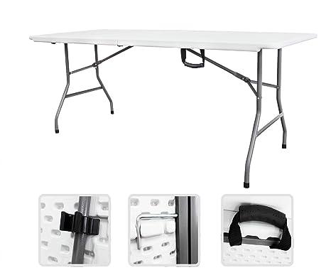 Todeco - Mesa Plegable Portátil, Mesa de Plástico Resistente - Material: HDPE - Carga máxima: 100 kg - 180 x 76 cm, Blanco, Plegable por la mitad