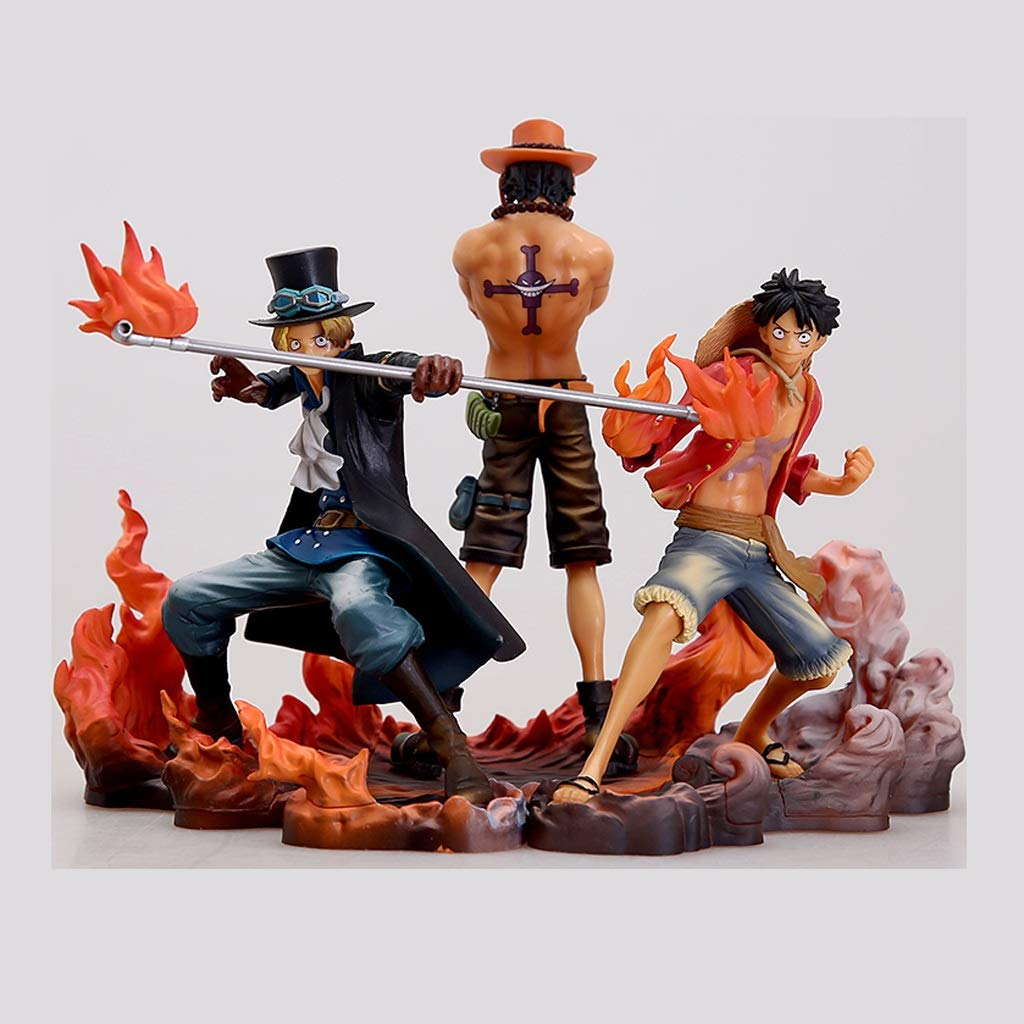 WJP One Piece Road Fly Ais Sabo Three Brothers Model Statue Birthday Gift Decoration Anime Decoration 15cm