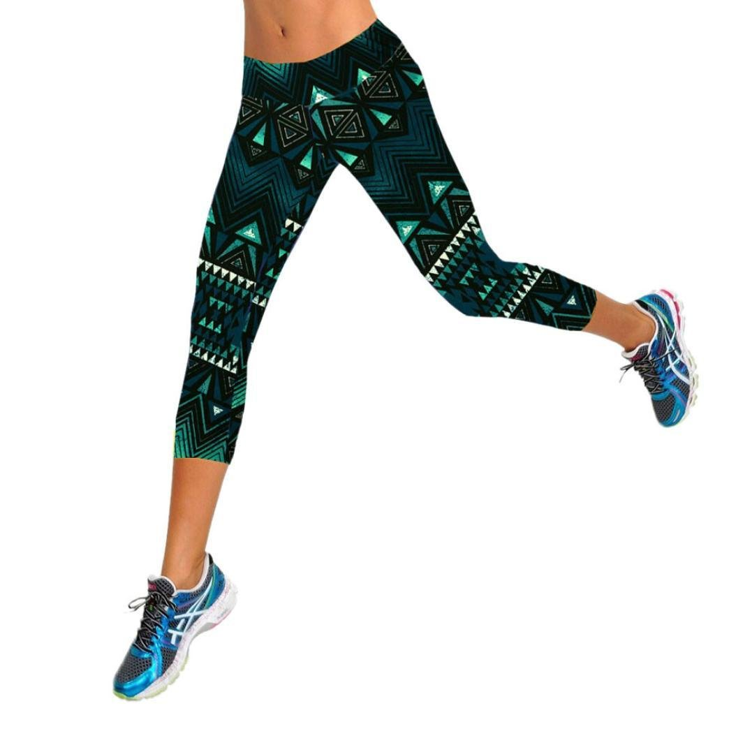 ... de Cintura Alta de Fitness con Estampado de Leggings recortados High Waist Fitness Yoga Sport Pants Printed Stretch Cropped Leggings: Amazon.es: Ropa ...