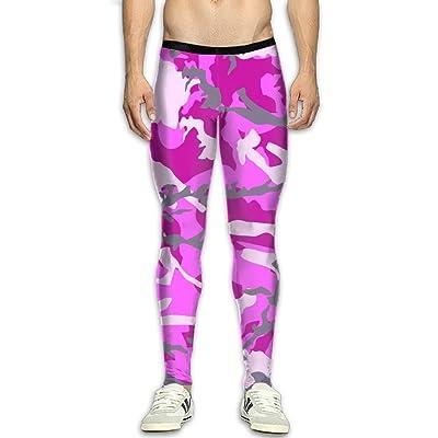 MADSDKFULA Pink Camouflage Pattern Men Running Tight Trousers Workout Sport Long Pants