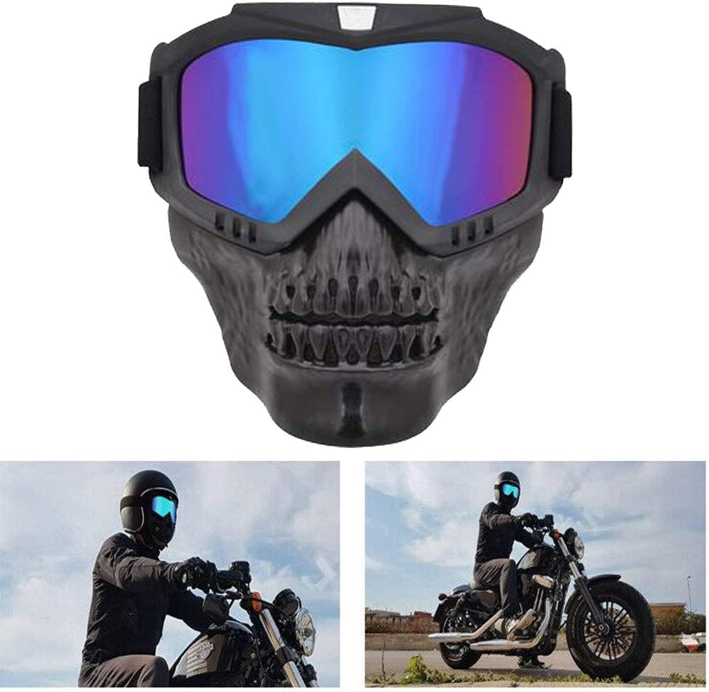 Hsanzeo Motorcycle Ski Goggles Sunglasses ATV Anti Wind UV Mask Blue