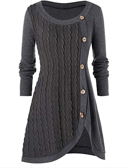 Aotifu Womens Long Sleeve Button Cowl Neck Casual Slim Plus Size Tunic Tops Asymmetric Hem Wrap Pullover Sweater Blouse