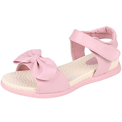 sports shoes 802a8 0a757 Kids Girl s Bow Pink Open Toe Flat Strap Leather Sandals (Toddler Little  Kid