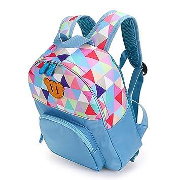 BTSKY Mochila Escolar para Niños Estudiantes con Imagen de Triángulo Cartera Graciosa con Compartimientos Varios Resistente Material Lona y Tela (Azul): ...
