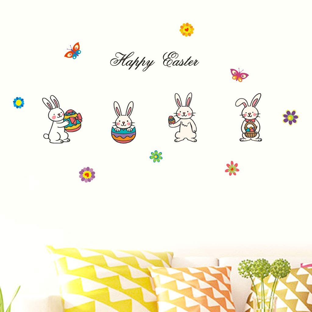 Little Story  Wall Decals Clearance , Happy Easter Rabbit Vinyl Decal Art Wall Sticker DIY Home Room Decor by Little Story (Image #2)