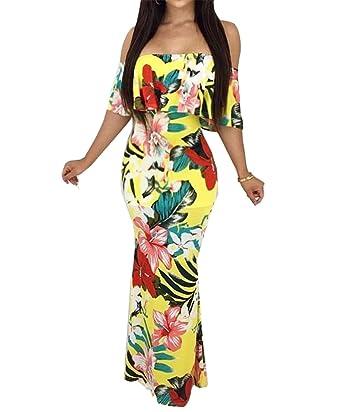 466e4b77ceca Remelon Womens Off Shoulder Ruffle Boho Floral Print Bodycon Slim Fit Maxi  Dress Floor Length - Yellow -  Amazon.co.uk  Clothing