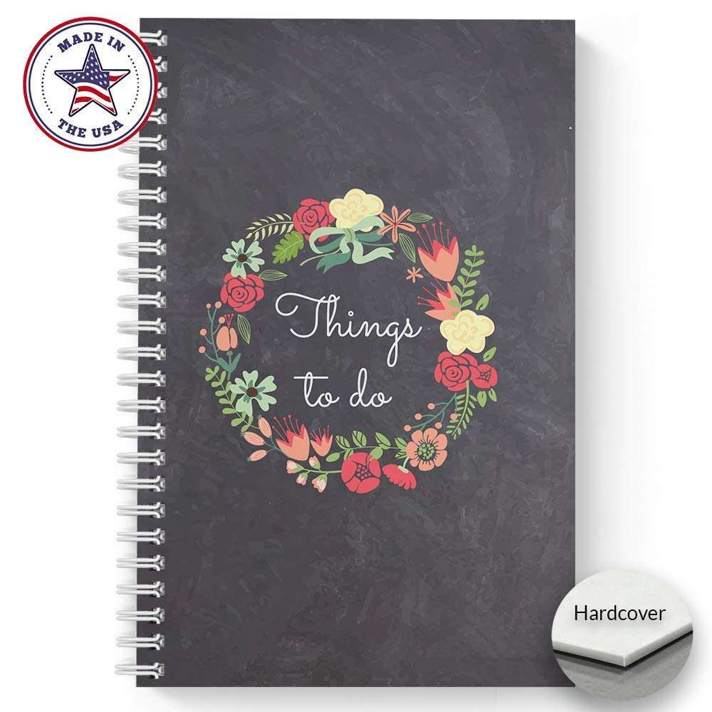 Hardcover Floral Wreath Things to Do 5.5'' x 8.5'' Faux Chalkboard Spiral Notebook/Journal, 120 Checklist Pages, Soft Touch Matte Laminated Cover, White Wire-o Spiral. Made in the USA