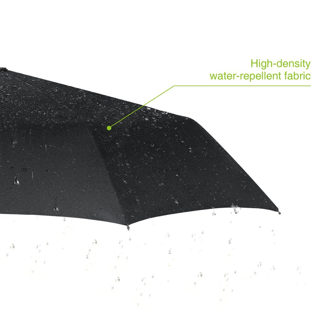 Plemo Classic Folding Umbrella for Business Travel Home, Auto Open Close Windproof, 210T Fabric Quick Dry, Black by Plemo (Image #2)