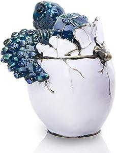Pipping Baby Sea Turtle Crystal Glass Trinket Box Vintage Style Hinged Jewelry Treasure Keepsake Box