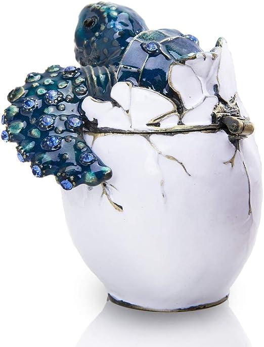 Crystals Ceramics Animal Turtle Jewelry Box Trinket Case  Gift Storage Organizer