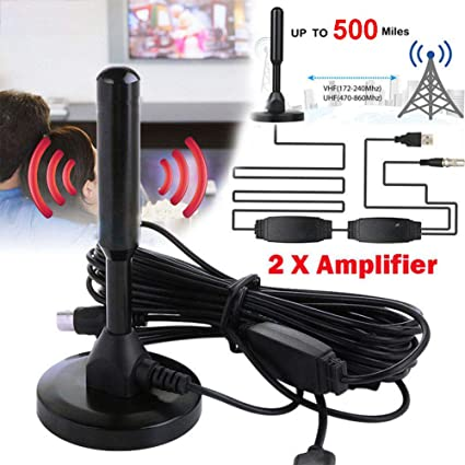 LFJNET Indoor Digital HDTV TV Antenna 25dBi LNA High Gain Antenna Aerial Amplified 500Mile Range VHF UHF Freeview