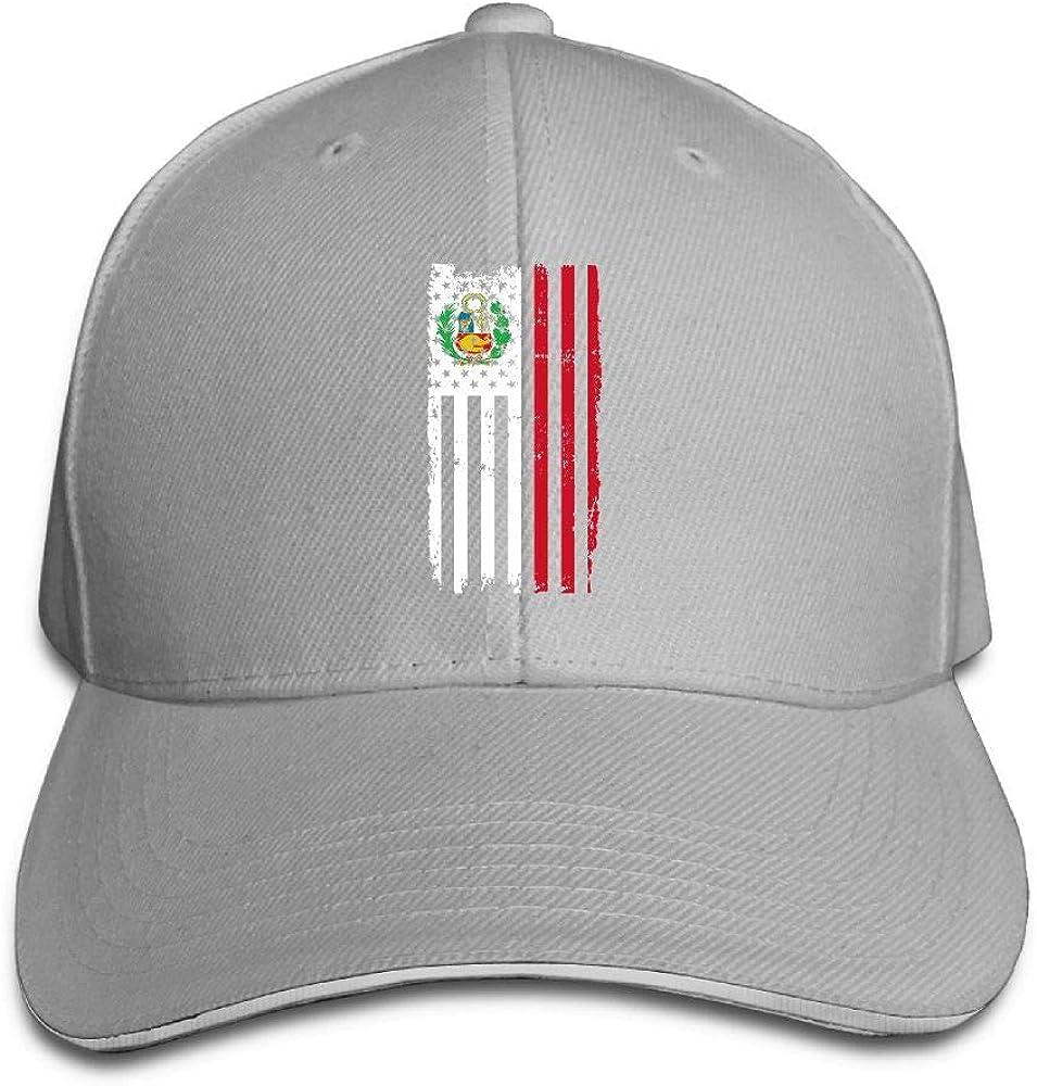 JustQbob1 Peru America Flag Outdoor Snapback Sandwich Cap Adjustable Baseball Hat Hip Hop Hat
