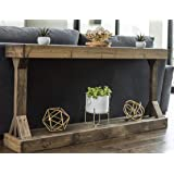 Barb Large Console Table Solid Wood by Del Hutson Designs (Dark Walnut)