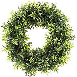 Pure Garden 50-151 Artificial Opal Basil Leaf 11.5 inch Round Wreath