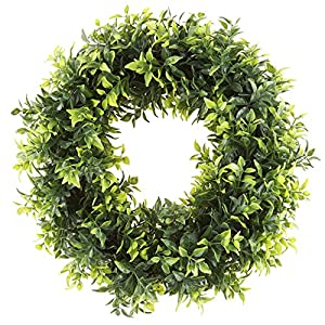Pure Garden Boxwood Wreath, Artificial Wreath for The Front Door, Home Décor, UV Resistant - 14 Inches 18