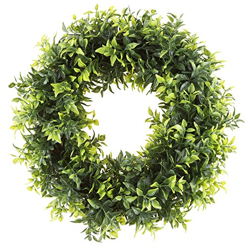 Pure Garden Round Wreath, Artificial Wreath for the Front Door by, Home Décor, UV Resistant Artificial, Basil Leaf – 11.5 Inches