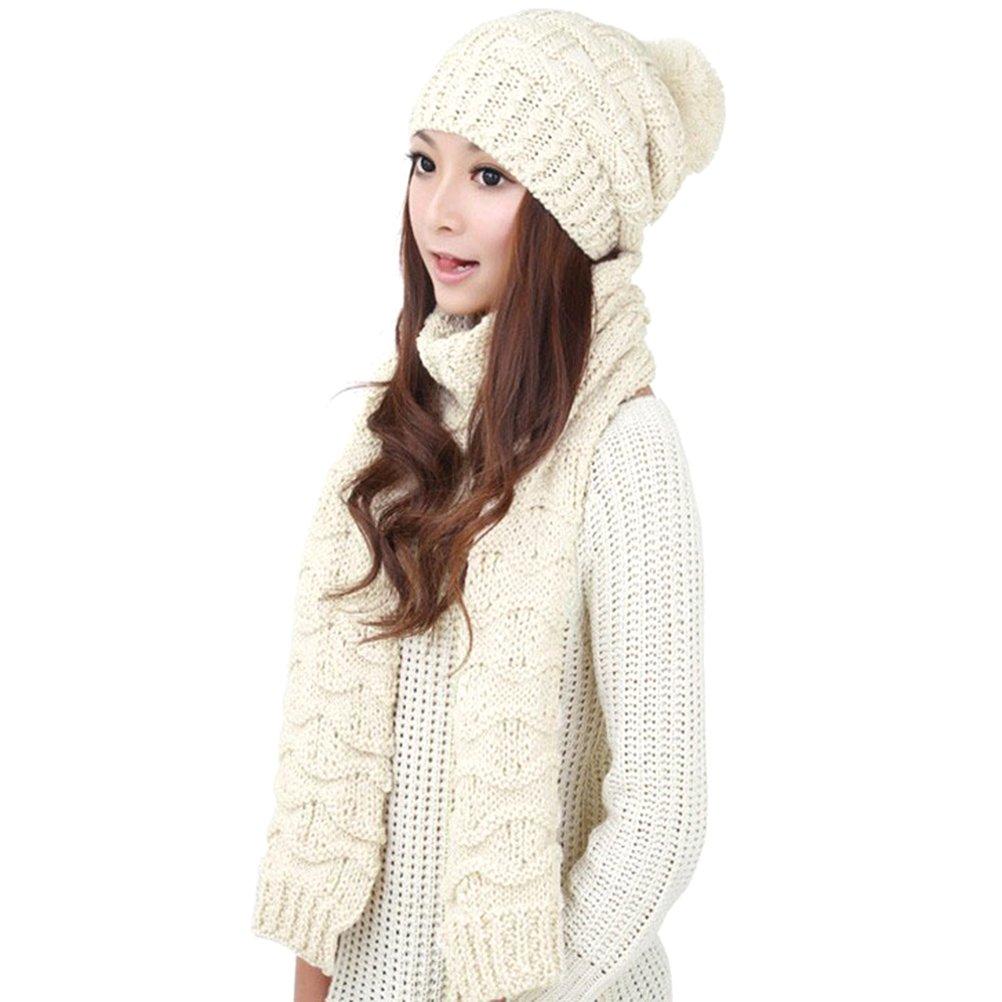 Jelinda Girls Knitted Hat Scarf Warm Autumn Winter Thermal Set (White)