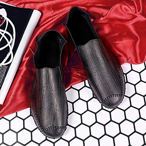 BEVEMON Souliers pour Hommes Casual Slip sur Cuir Mocassins Léger Respirant Mode Sneakers Black wngmA5