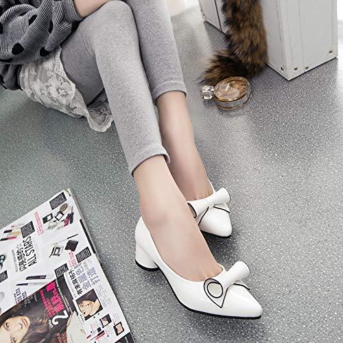 De De Zapatos De Arco Solos alto con De Mujer De Yukun De Altos Gruesa tacón Arco De Alto Mujer Señoras Tacón Moda Tacones Las zapatos White de Zapatos w1qIOP