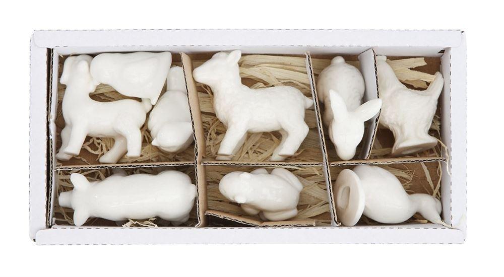 Stoneware Ceramic Barnyard Farm Animal collectible figurines, White, Boxed Set of 9