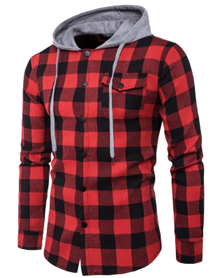 Be Loved Beloved Mens Long Sleeve Button Down Classic Plaid Fashion Hooded Drawstring Dress Shirt