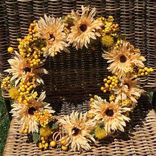 Faux Sunflower Wreath, Artificial Forsythia, Sunflowers and Berries in Soft Yellows, Summer, Autumn Wreath, Forever Flowers by Gigi