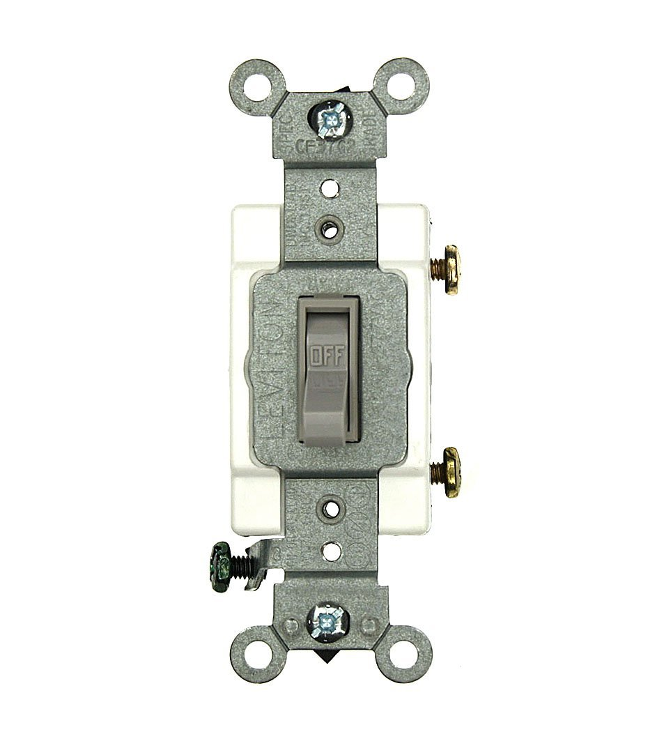 Leviton 54501-2GY 15 Amp, 120/277 Volt, Toggle Framed Single-Pole AC Quiet Switch, Commercial Grade, Grounding, Gray