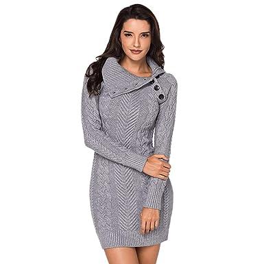 14ac052cb30 Rosegal Robe Pull Tricot Femme Hiver Manche Longue Pulls Slim Robe Crayon  Mode