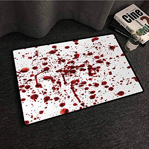 DuckBaby Fashion Door mat Horror Splashes of Blood Grunge Style Bloodstain Horror Scary Zombie Halloween Themed Print Hard and wear Resistant W31 xL47