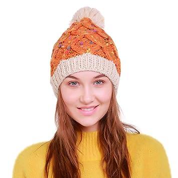 Mujeres Crochet Lana Tejer Gorro de Esquí 50c2fc88fb3