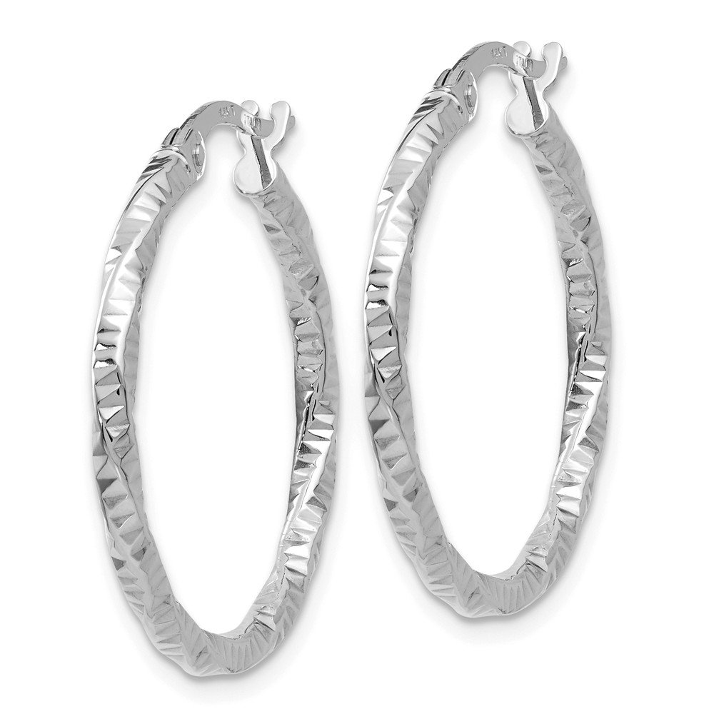 Mia Diamonds 14K White Gold Polished and Textured Hoop Earrings
