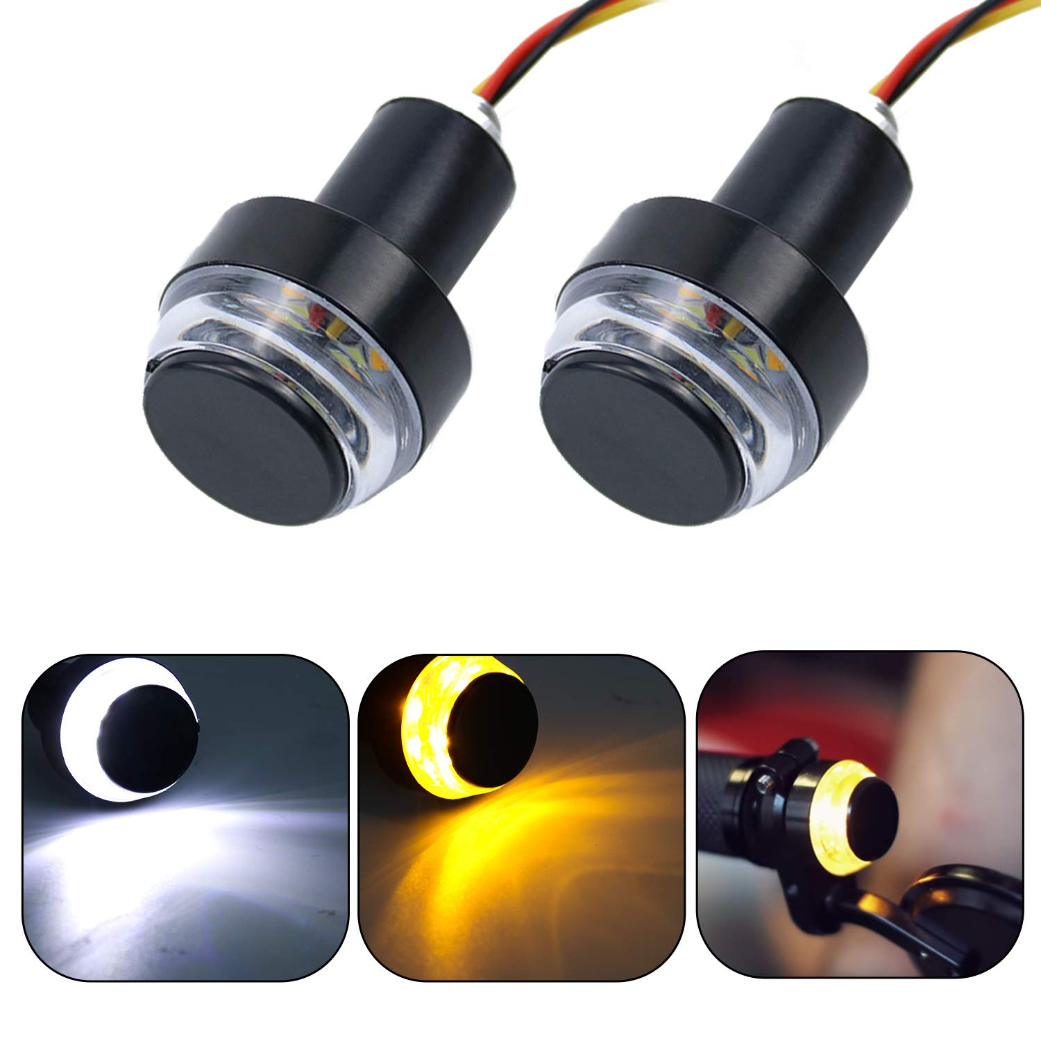 LivTee Motorcycle Handlebar End LED Lights, Dual Color for Turn Signal Lights and Side Marker Lights or Running Lights, Amber/White