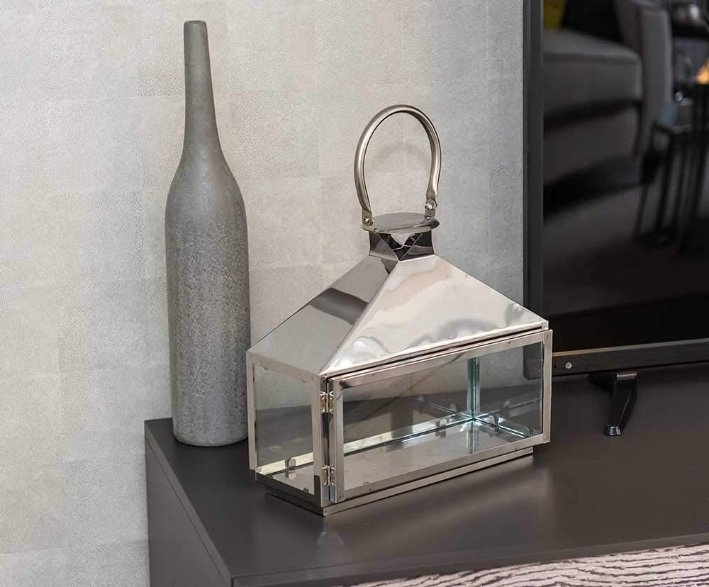 Small Modern Chrome Lantern with Handles and Glass Sides Candle Holder