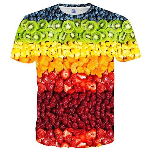 Yasswete Unisex Fashion 3D Colorful Fruit Pattern Printed Short Sleeve T-Shirts Top Tees Size L