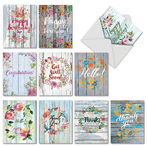 10 Assorted 'Blooming Driftwood' Mixed Occasion Greeting Cards with Envelopes 4 x 5.12 inch, Boxed Set of Blank Cards with Pretty Watercolor Flowers Painted on Driftwood - Stationery Blooming