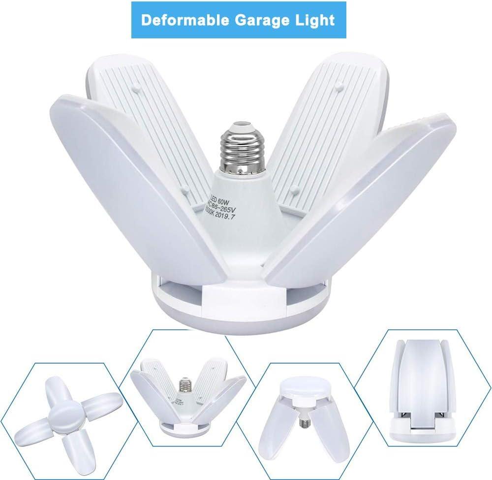 Lager Utility Shop LED Garagenleuchten Werkstatt Variante Lampe LADUO 60W Garage Deckenleuchte Super Bright Bulb 6000LM mit 4 verstellbaren Paneelen f/ür Garage Scheune