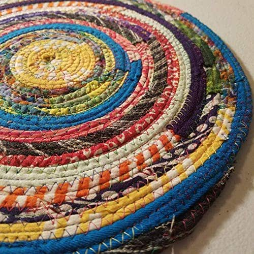 Multicolor Jewels Fabric Table Mat, Placemat, Cloth Mat, Made to Order, Qty: 1, Braided Rug Style, Upcycled, Eco-Conscious, Eco-Friendly, Boho Hippie Unique Colorful, Vintage Inspired