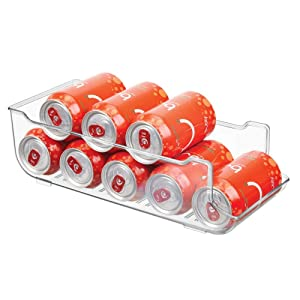 mDesign Large Plastic Pop/Soda Can Dispenser Storage Organizer Bin for Kitchen Pantry, Countertops, Cabinets, Refrigerator - Holds 9 Cans - BPA Free, Food Safe - Clear