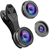 Phone Camera Lens,Hizek 0.36X Super Wide Angle Lens+15X Macro Lens+230°Fisheye Lens 3 in 1 HD Cell Phone Camera Lens Kit for iPhone X/8/8Plus/7/7 Plus /6s/6/5, Samsung and Most Smartphones