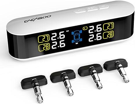 CACAGOO TPMS Monitor de Presión Neumáticos Ruedas Sistema Inalámbrico Gran Pantalla LCD Función de Alarma en tiempo real con 4 Sensores: Amazon.es: Electrónica