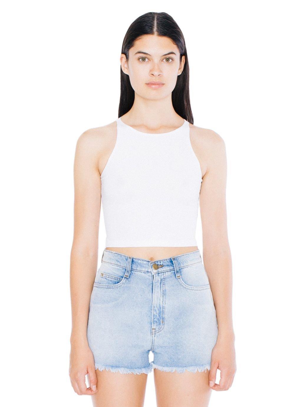 American Apparel Women's Cotton Spandex Sleeveless Crop Top, White, Small