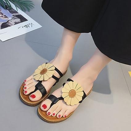 48656d84a715d Amazon.com  AODEW Women Summer Sandals T-Strap Thongs Flower Flat ...
