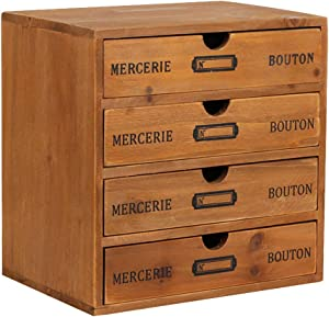 Willcome Wooden Storage Box with Drawers Portable Desktop Cabinet Organizer for Home Office Counter Craft Decor (with 4 Drawer)