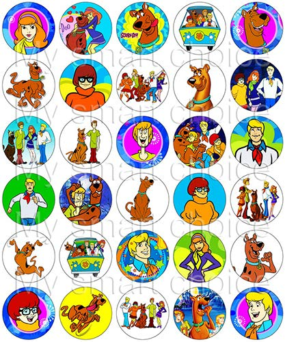 30 x Edible Cupcake Toppers – Scooby Doo Themed Collection of Edible Cake Decorations | Uncut Edible Prints on Wafer Sheet -