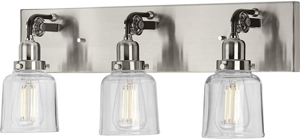 """Brushed Nickel Fluorescent  3 Light Clear Ribbed Bath Wall Fixture 24/"""""""