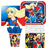 Amscan DC Comics Superhero Girl Birthday Complete Party Tableware Pack for 16, Dessert