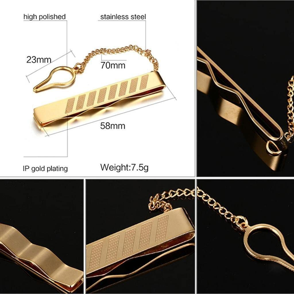 DORLIONA 5X Gentleman Gold Stainless Simple Necktie Tie Clip Bar Clasp Practical Plain