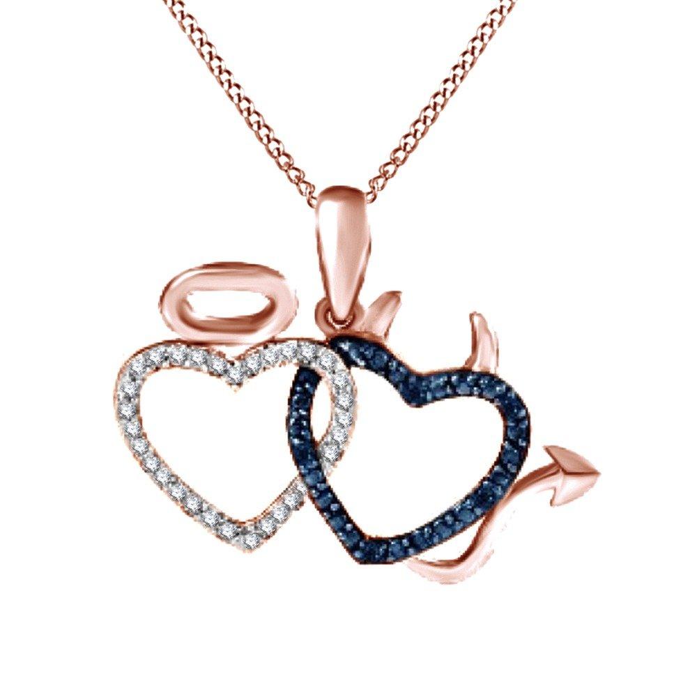 Jewel Zone US Blue /& White Natural Diamond Interlocking Devil /& Angel Heart Pendant Necklace in 925 Sterling Silver
