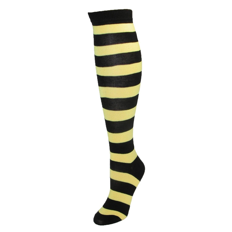 CTM® Women's Wide Striped Knee High Sock Orange US-SR416-ORG